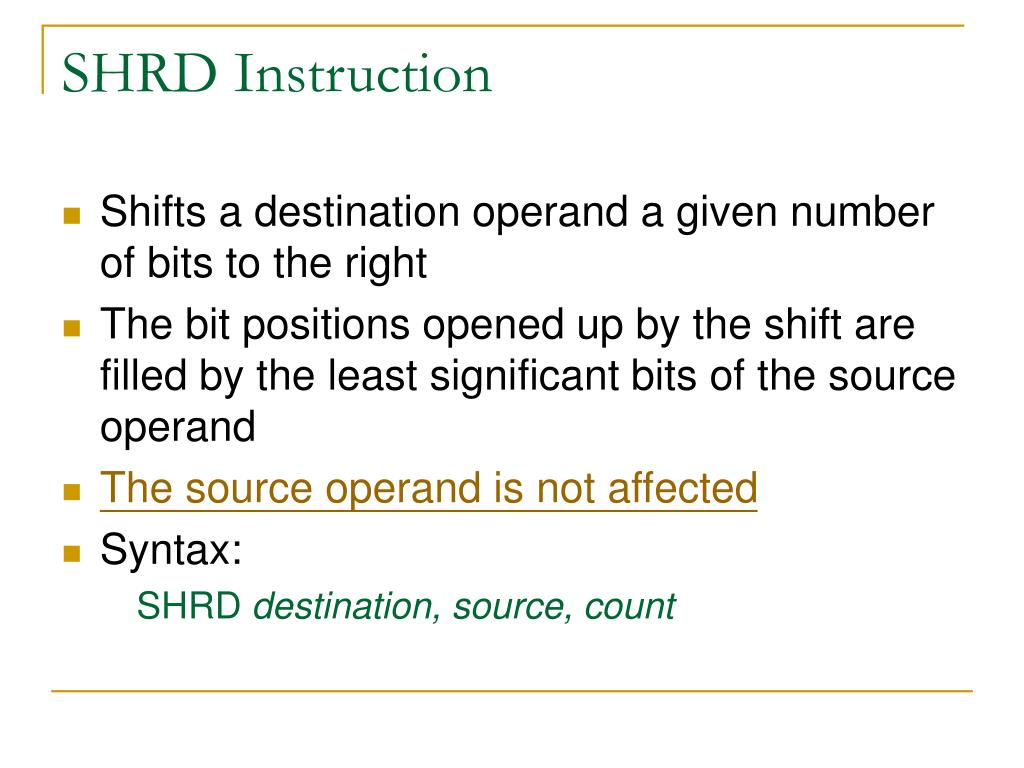 SHRD Instruction