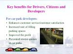 key benefits for drivers citizens and developers