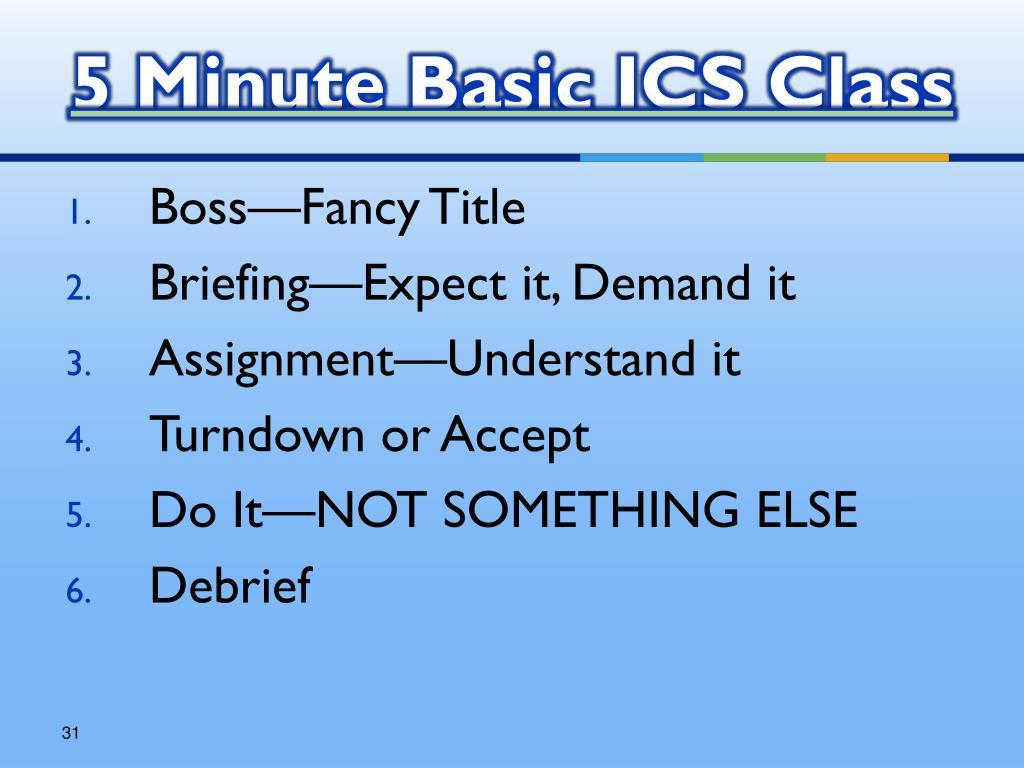 5 Minute Basic ICS Class