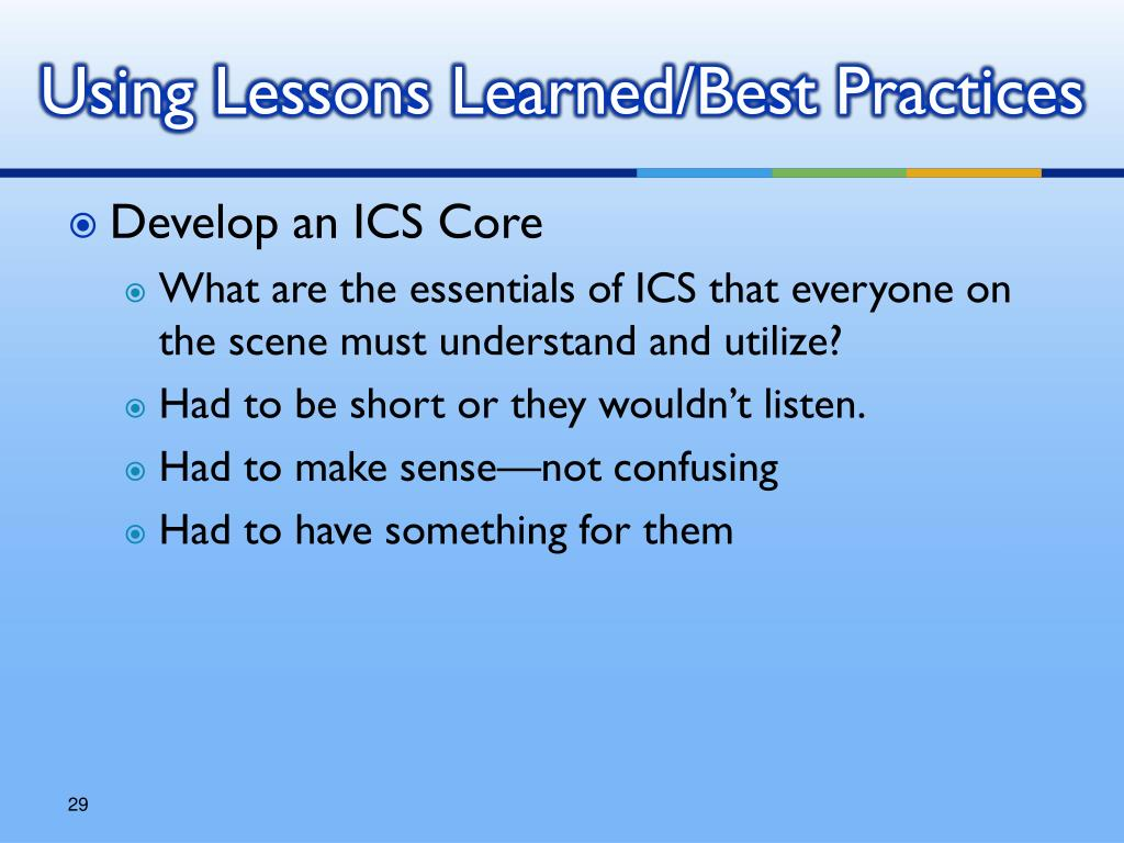 Using Lessons Learned/Best Practices
