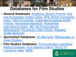databases for film studies