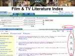 film tv literature index