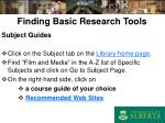 finding basic research tools