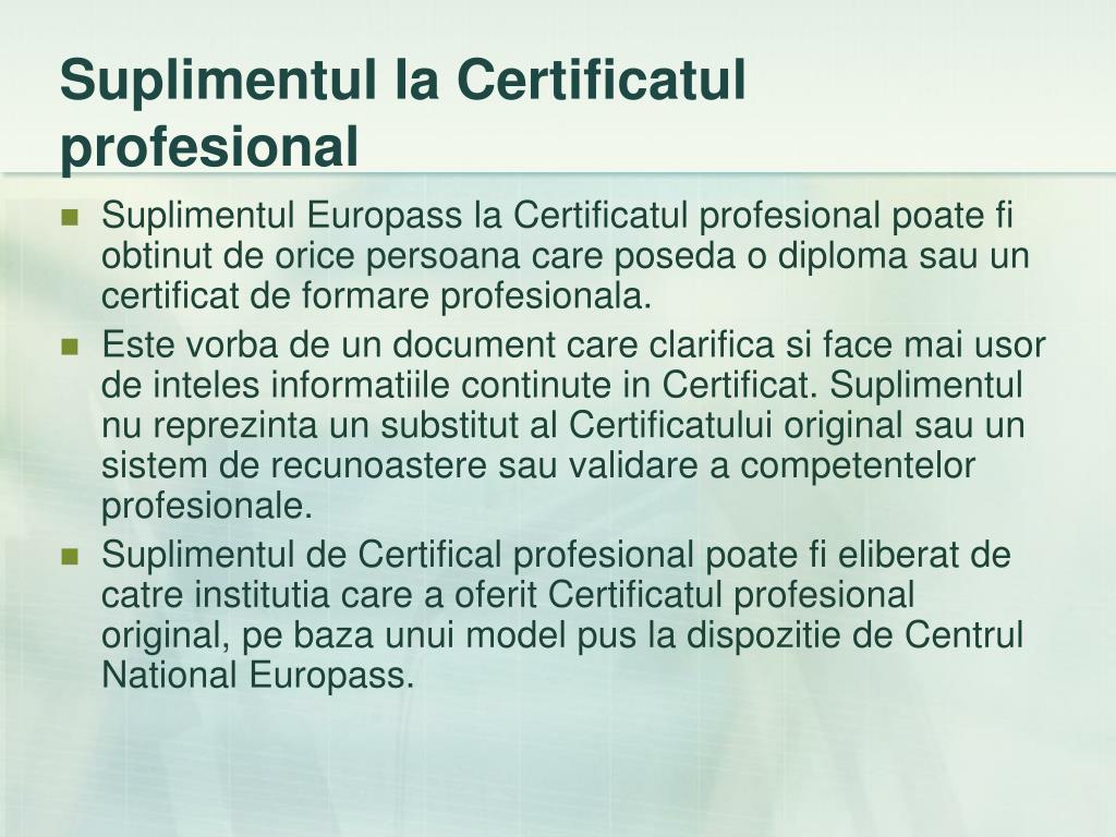 Suplimentul la Certificatul profesional