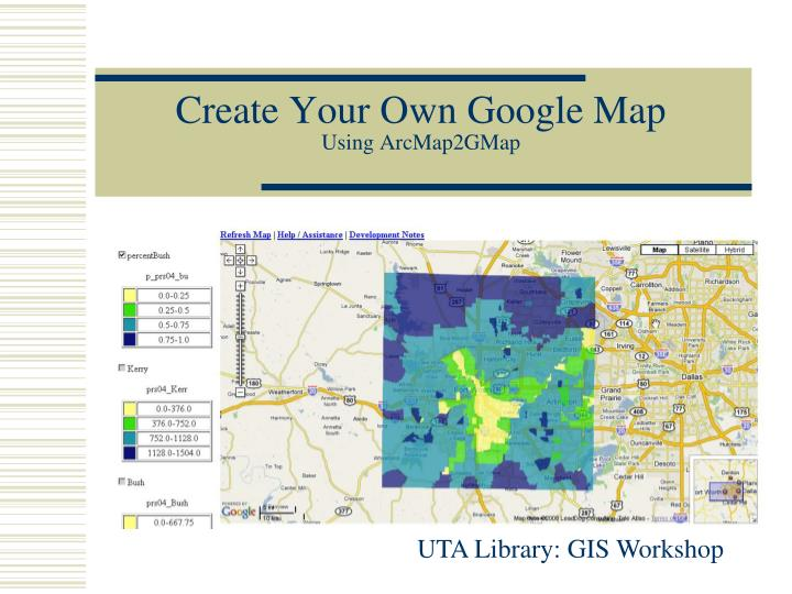 create your own google map using arcmap2gmap n.