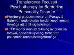 transference focused psychotherapy for borderline personality disorder