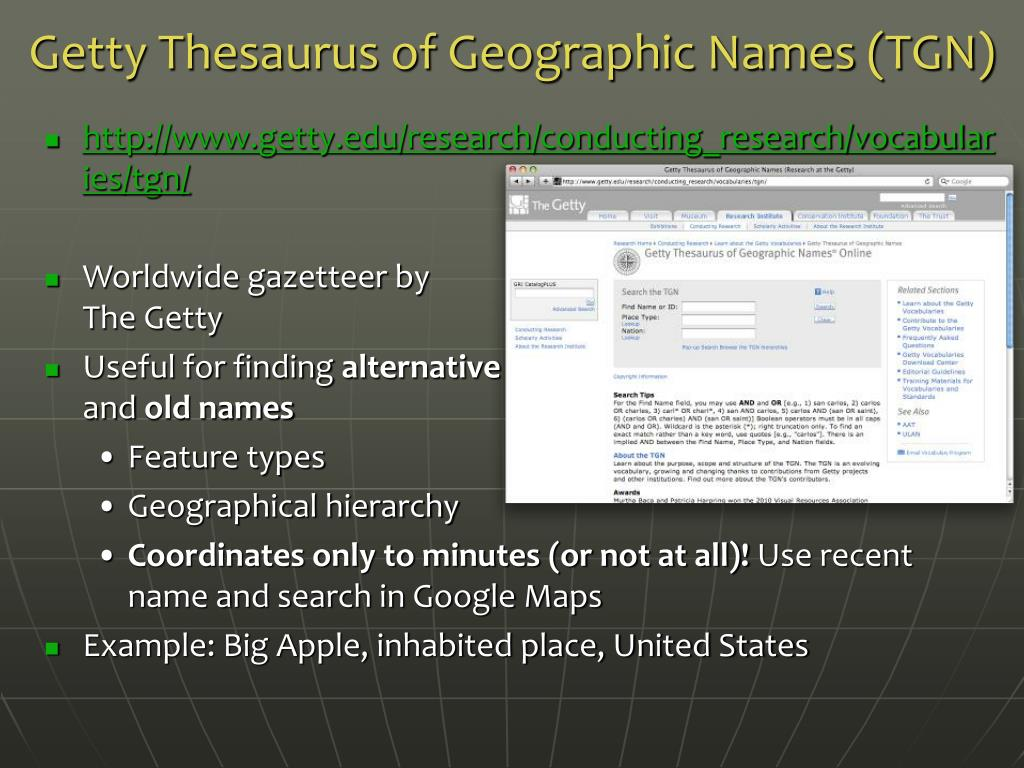 Getty Thesaurus of Geographic Names (TGN)