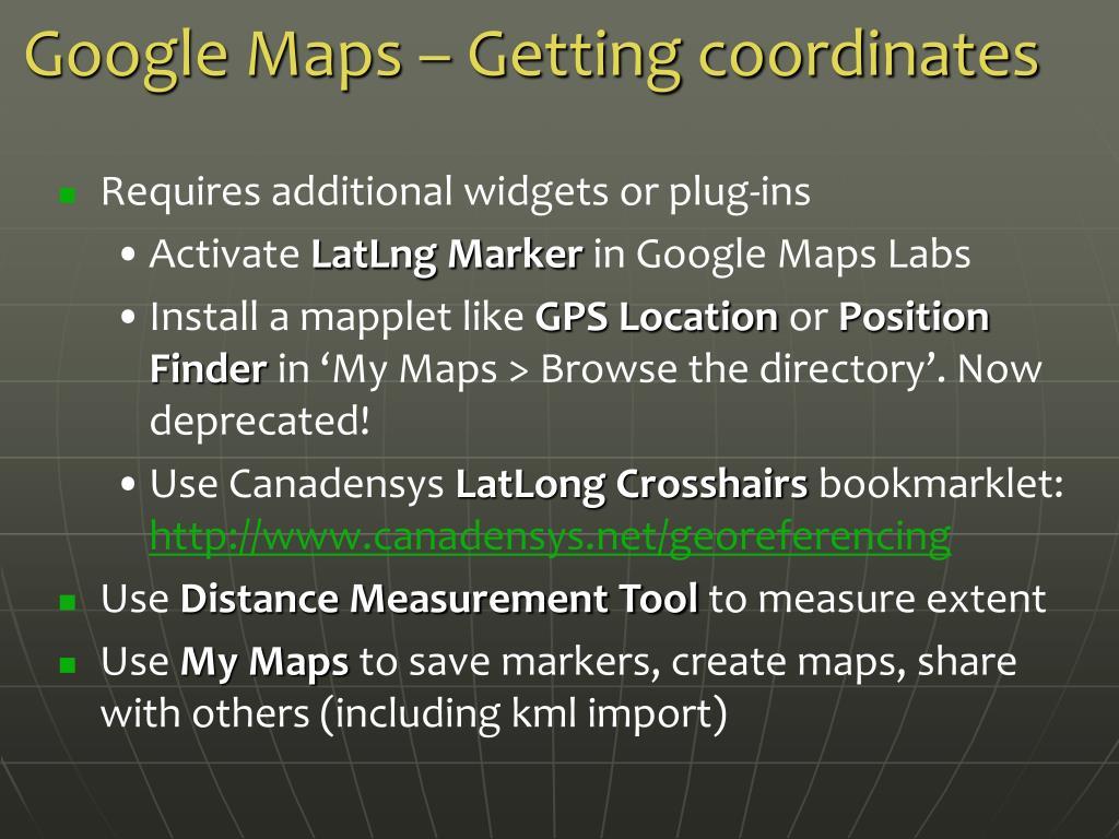 Google Maps – Getting coordinates