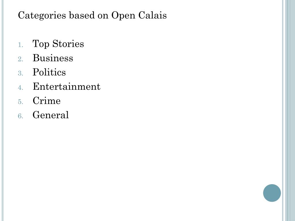 Categories based on Open Calais