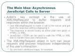 the main idea asynchronous javascript calls to server