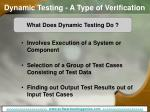 dynamic testing a type of verification
