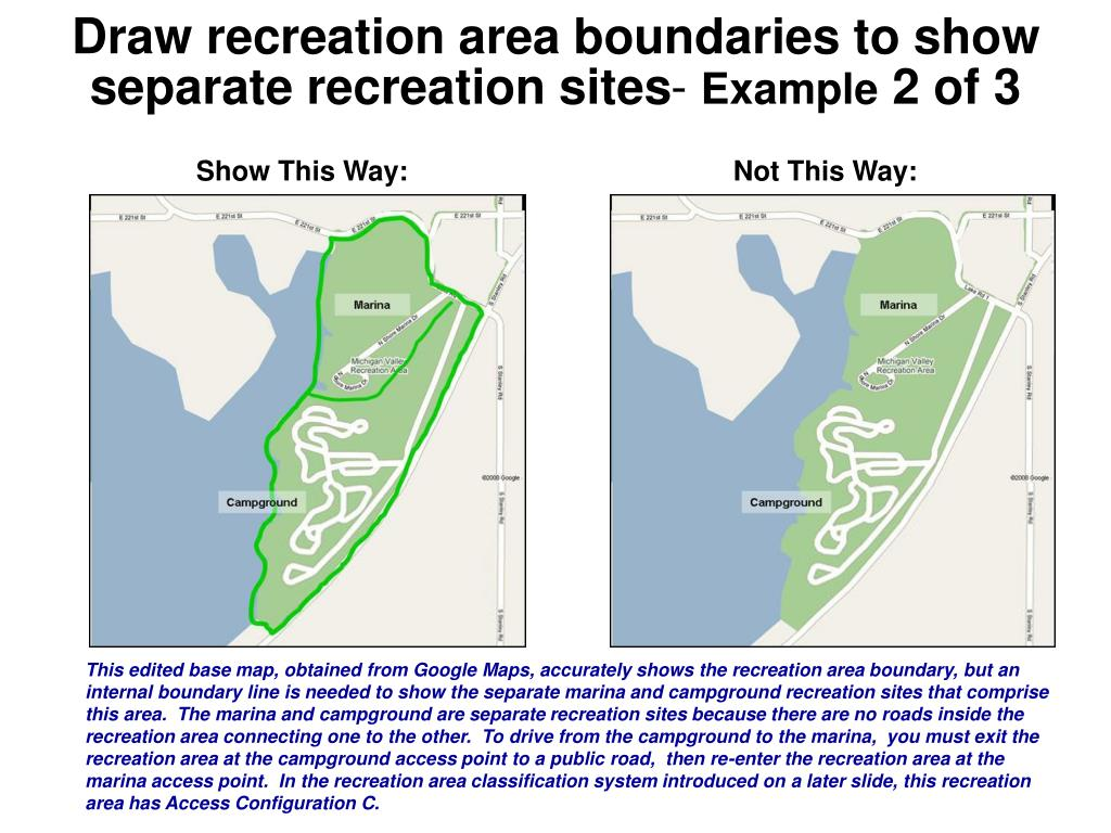 Draw recreation area boundaries to show separate recreation sites