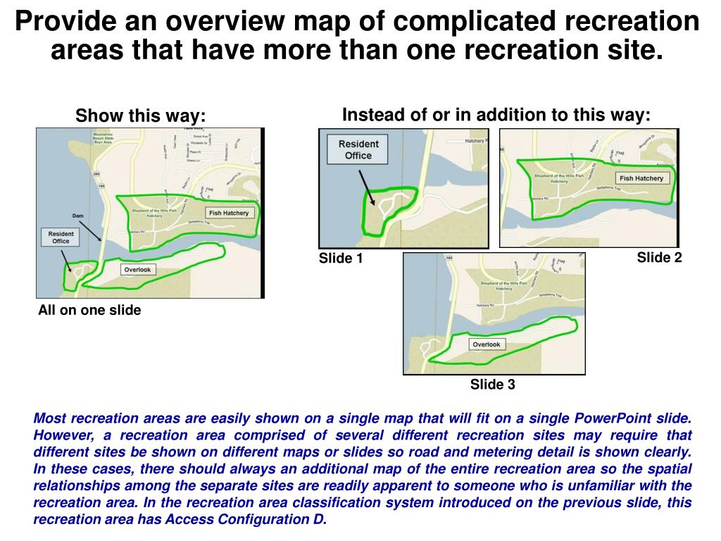 Provide an overview map of complicated recreation areas that have more than one recreation site.