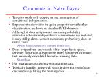 comments on na ve bayes