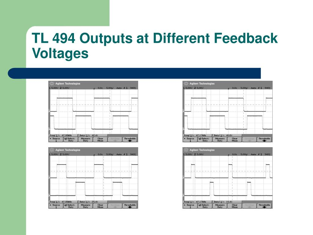 TL 494 Outputs at Different Feedback Voltages
