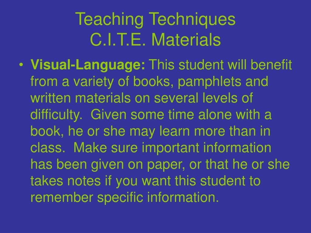 Teaching Techniques