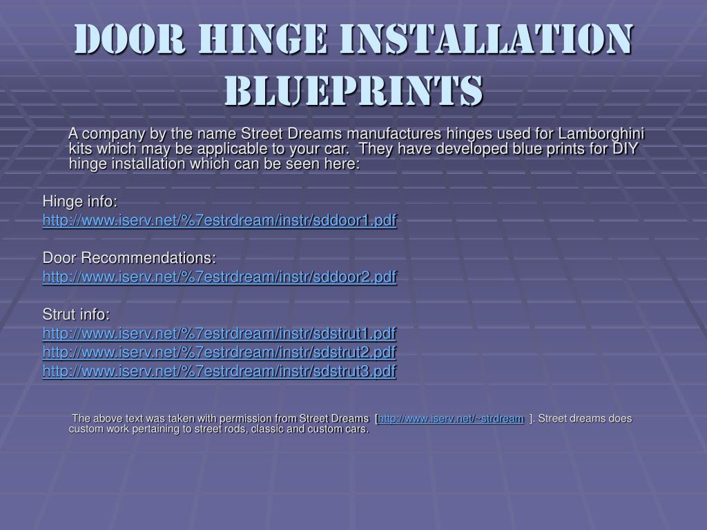 Door Hinge Installation Blueprints