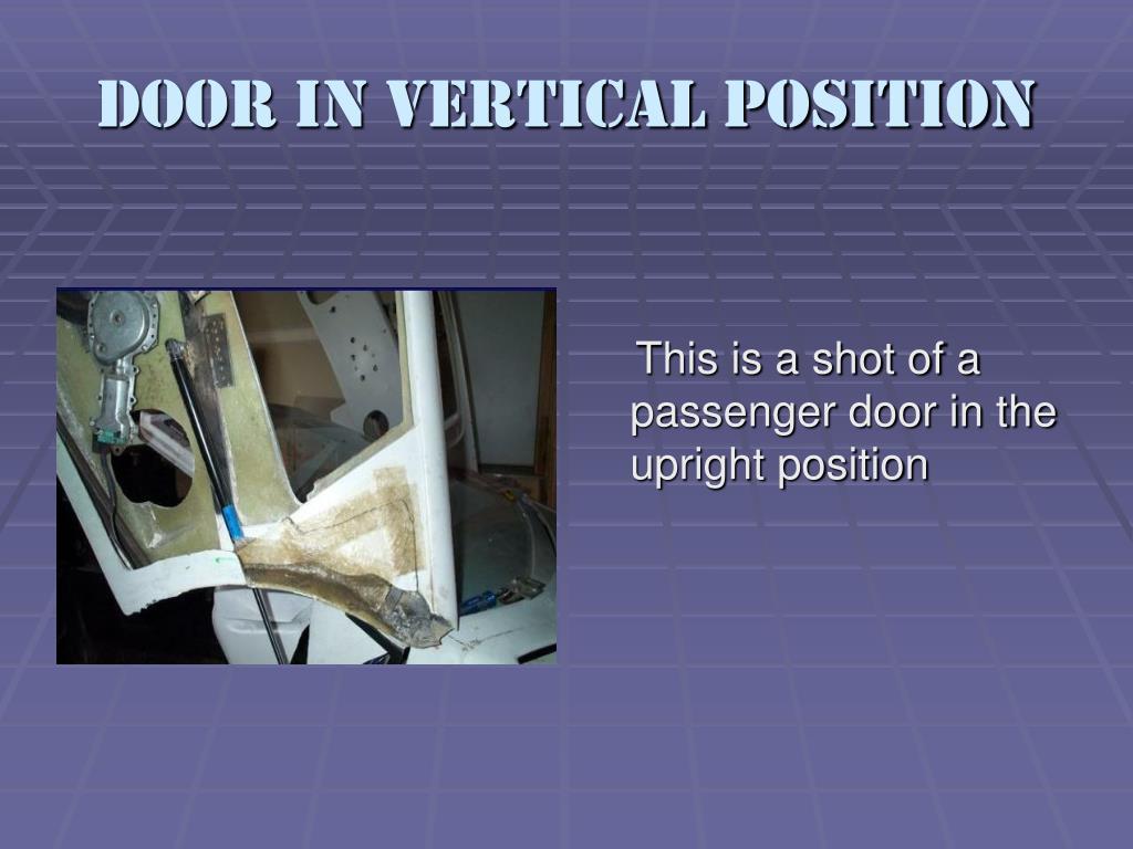 Door in vertical position