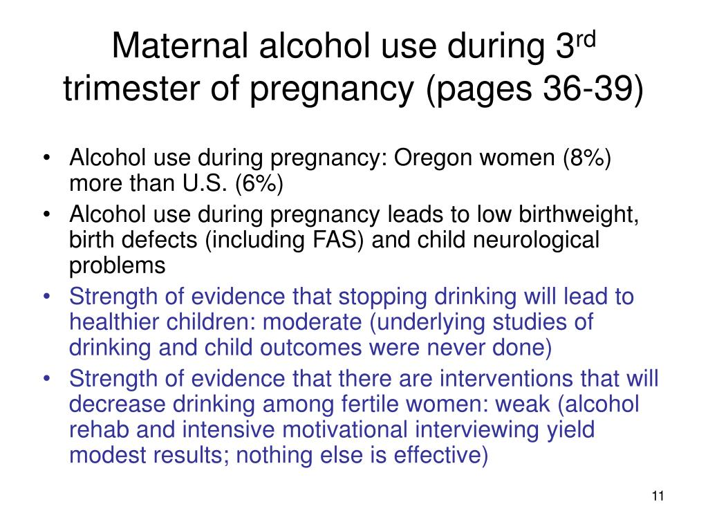 Maternal alcohol use during 3