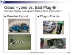 good hybrid vs bad plug in how does the plug in compare to hybrid in terms of emissions