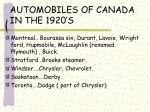 automobiles of canada in the 1920 s