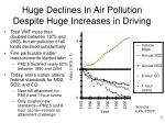 huge declines in air pollution despite huge increases in driving