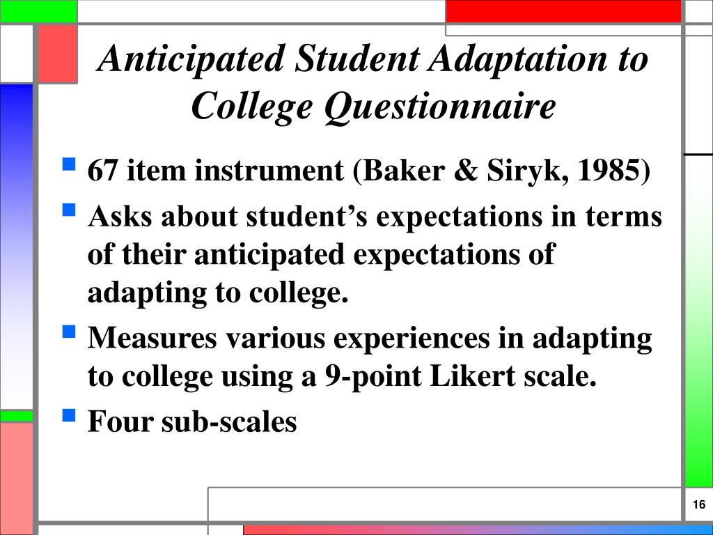 Anticipated Student Adaptation to College Questionnaire