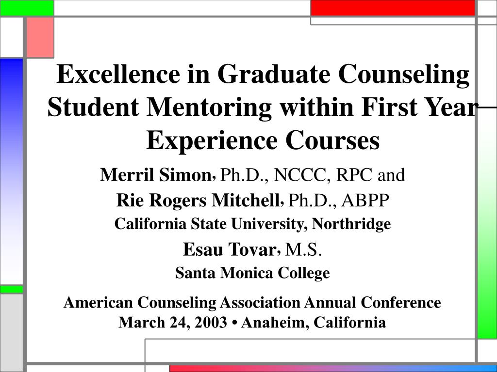 Excellence in Graduate Counseling Student Mentoring within First Year Experience Courses