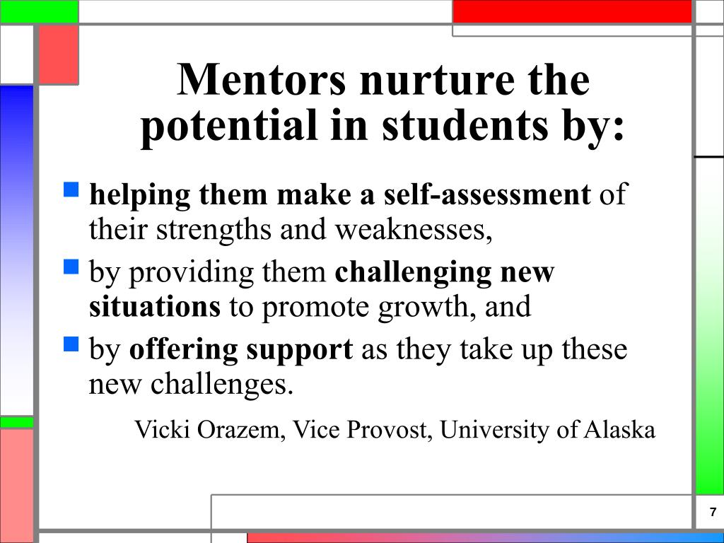 Mentors nurture the potential in students by: