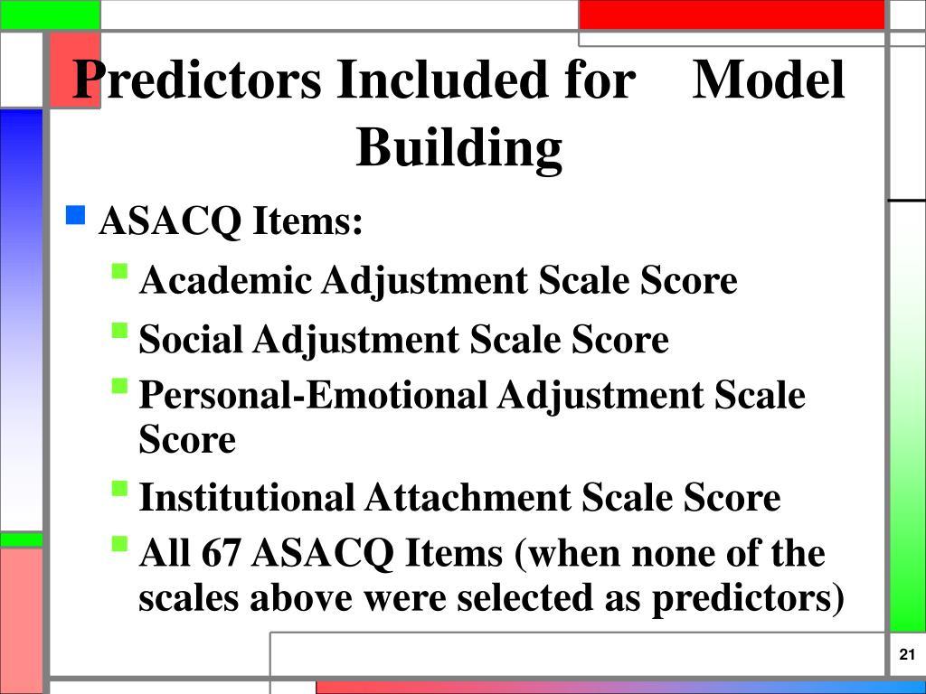 Predictors Included for    Model Building