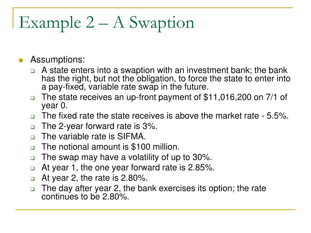 Example 2 – A Swaption
