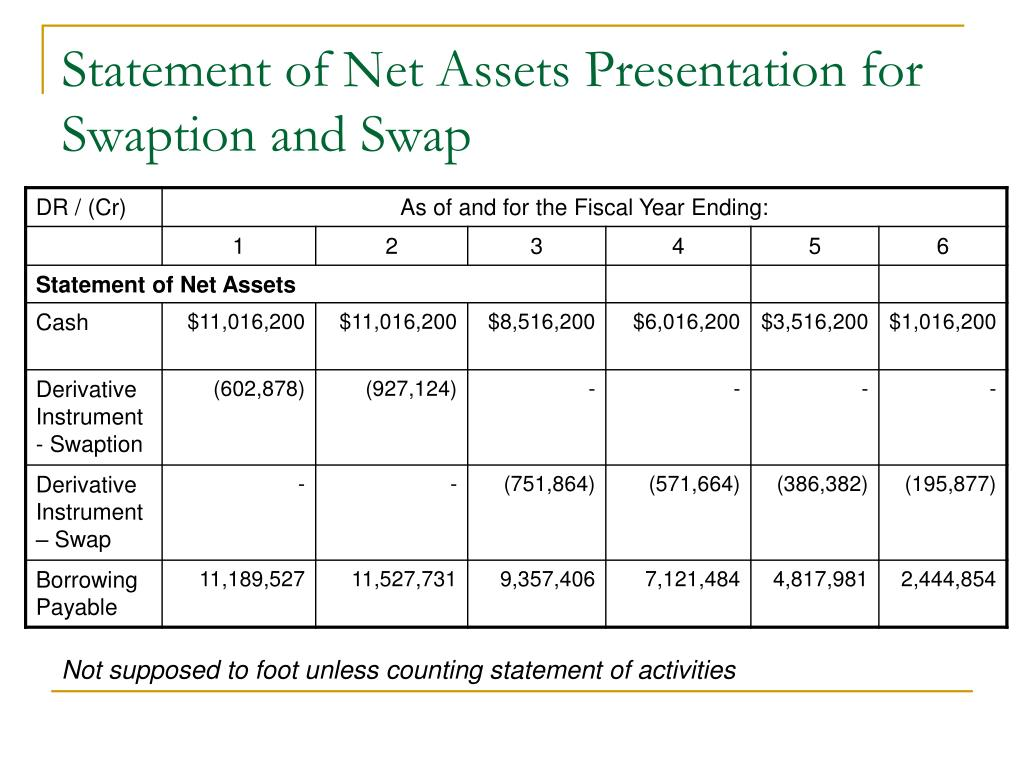 Statement of Net Assets Presentation for Swaption and Swap