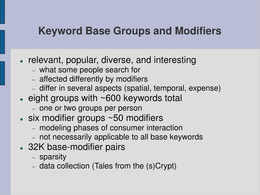 keyword base groups and modifiers l.