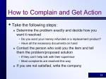 how to complain and get action