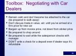toolbox negotiating with car dealers