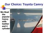 our choice toyota camry
