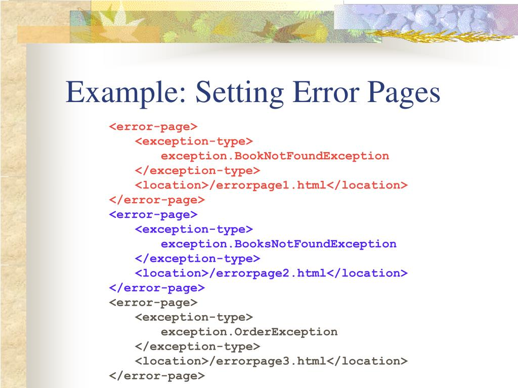 Example: Setting Error Pages
