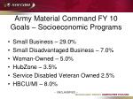 army material command fy 10 goals socioeconomic programs
