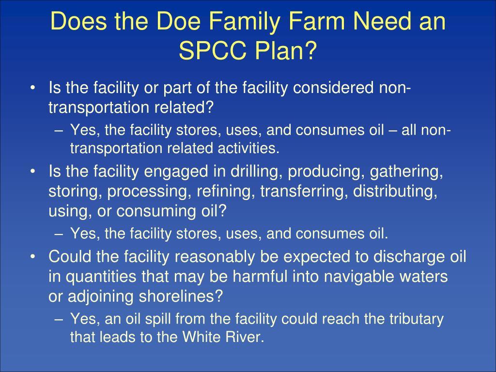 Does the Doe Family Farm Need an SPCC Plan?