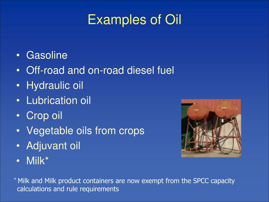 Examples of Oil