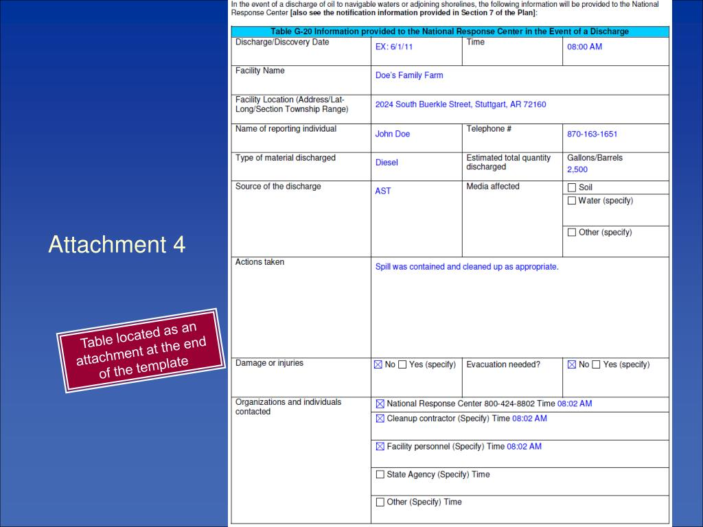 Table located as an attachment at the end of the template