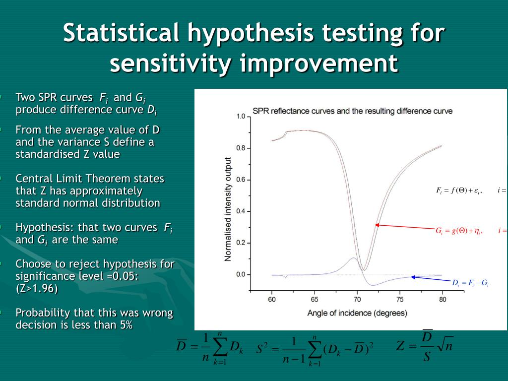 Statistical hypothesis testing for sensitivity improvement
