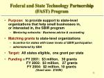 federal and state technology partnership fast program