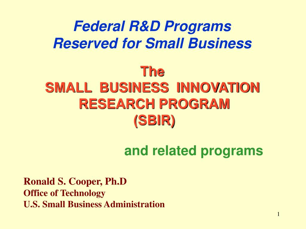 federal r d programs reserved for small business l.