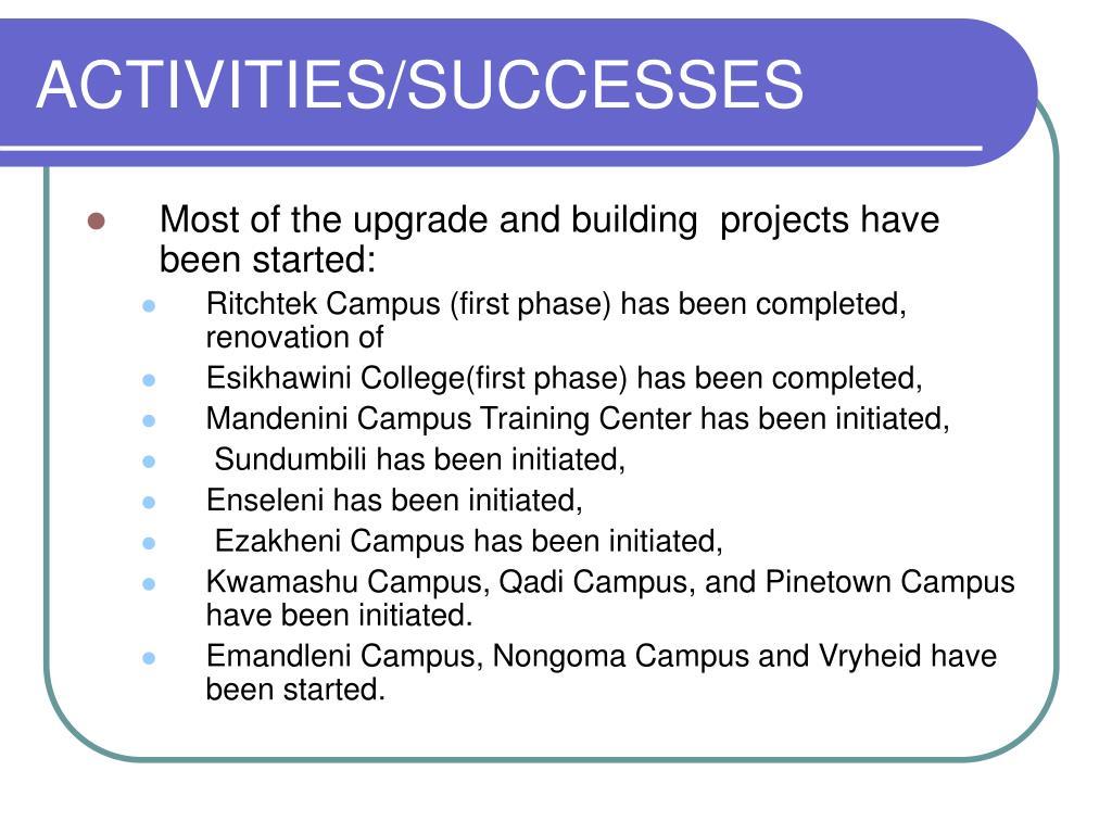 ACTIVITIES/SUCCESSES
