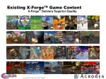existing x forge game content
