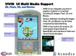 vivid ui multi media support 2d flash 3d and movies