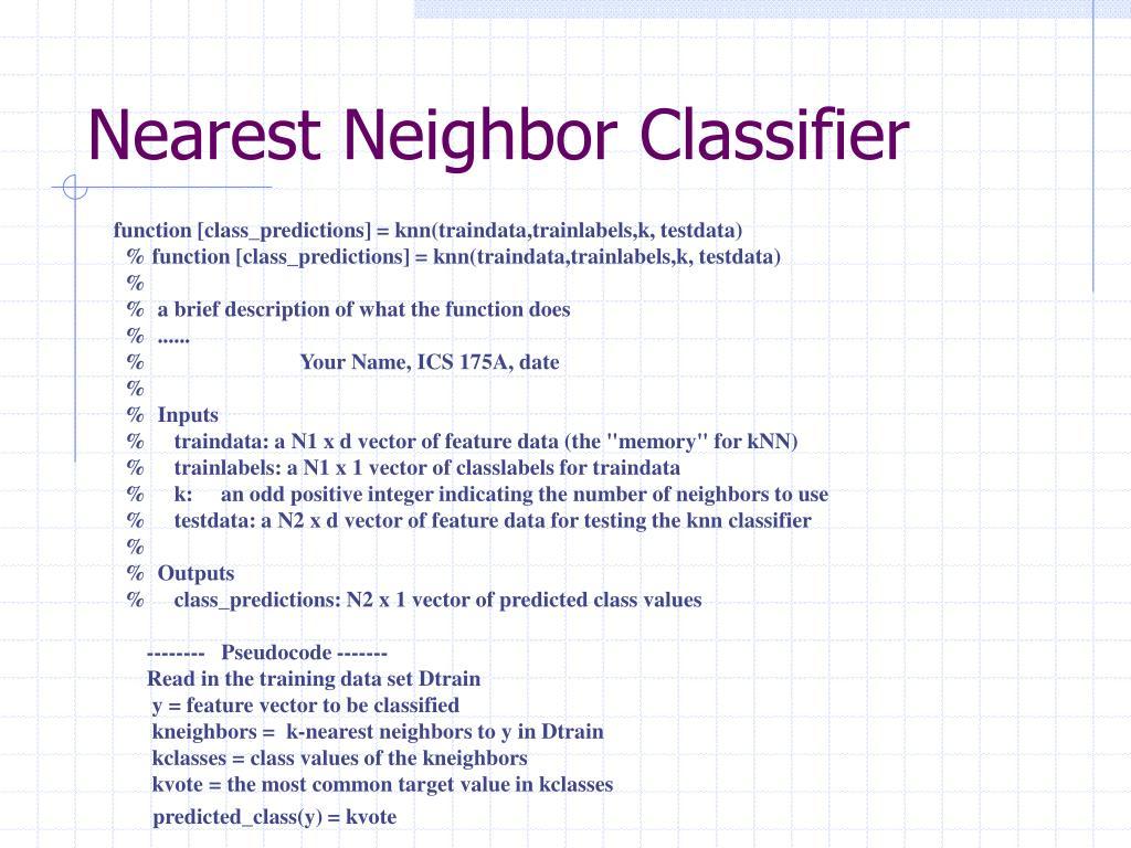 Nearest Neighbor Classifier