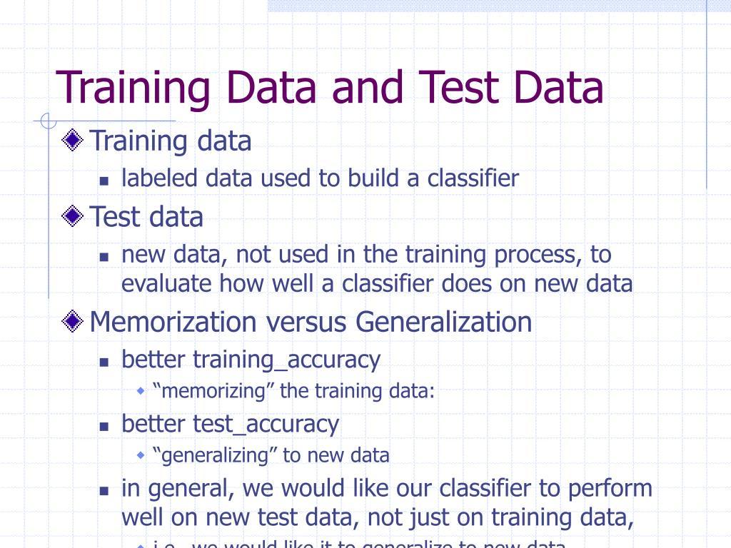 Training Data and Test Data