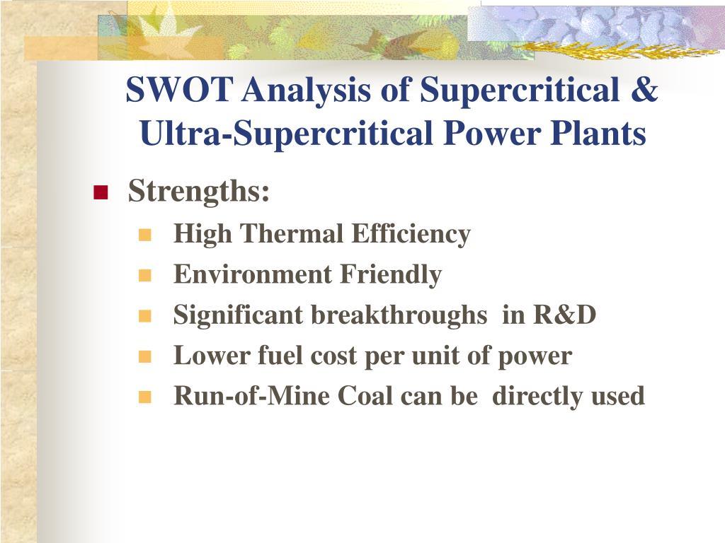 SWOT Analysis of Supercritical & Ultra-Supercritical Power Plants